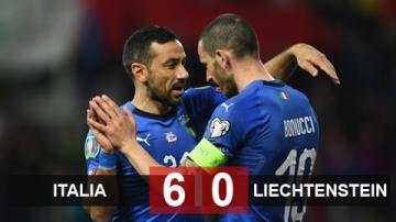 Italia 6-0 Liechtenstein: Quagliarella lập cú đúp, Italia lên ngôi đầu bảng